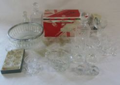 Assorted glassware inc Galway Irish crystal decanter and glasses