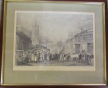 Engraving of Louth Horse Fair by J M W Turner 36 cm x 30 cm (size including frame)