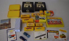 Quantity of reproduction boxed Dinky cars and Atlas Editions mini trains