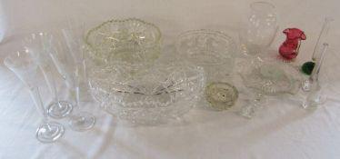 Assorted glassware inc cut glass bowl etc