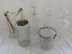 Assorted drink related glassware inc decanters,