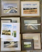 Collection of Tom Brooker watercolours of Lincolnshire landscapes,