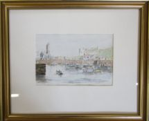 Cornish School watercolour 'Porthleven Harbour' indistinctly signed,