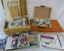 Large quantity of artists materials inc sketch pads, brushes, paints,
