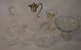 Various glassware including ships decanter, plated claret jug, crystal bowl, fruit bowl,