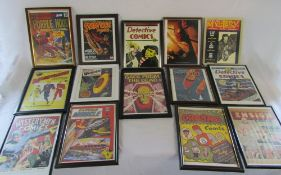 14 framed prints of comic covers/fronts