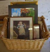 Wicker basket full of prints