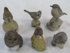 Collection of 6 Poole Pottery bird and animal figures