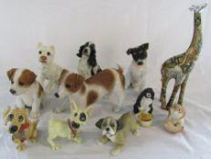 Selection of animal figurines inc Giraffe & dogs