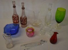 Glassware including cranberry and blue glass