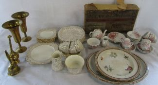 Various ceramics and brassware inc child's tea set (af) by B P Co 'Filbert' retailed by Pettigrew &