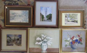 2 small watercolours by D Eva Rose & selection of prints
