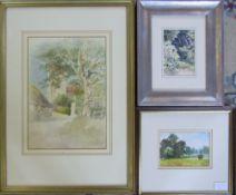 3 Watercolours of a rural scene 30 cm x 28 cm,