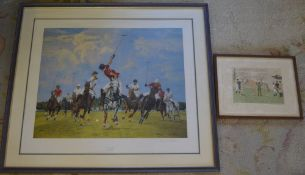 Vincent Haddelsey limited edition print and a Polo match print both signed in pencil