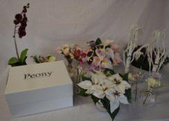 Quantity of good quality artificial flowers including Peony,