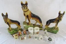 Assorted ceramics inc Alsatian dogs and crested china
