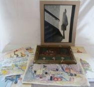 Assorted unframed watercolours by Mort Cowling inc Lincs Farm Views,