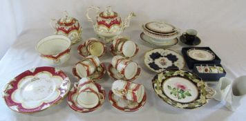 Mid 19th century tea set (af) and other assorted ceramics inc Royal Worcester