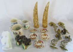2 carved resin tusks, brass piano sconces, onyx and ceramic horse bookends,