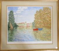 Limited edition etching 90/150 with aquatint 'Lakeside Mooring' by Stephen Whittle (b.