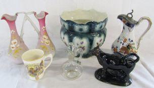 Assorted ceramics inc creamer, jardiniere,