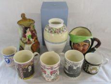 Boxed Wedgwood 'Sarah' vase, Royal Doulton character jug,