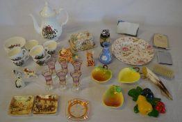 Various ceramics including Pendelfin, Wedgwood, glassware,