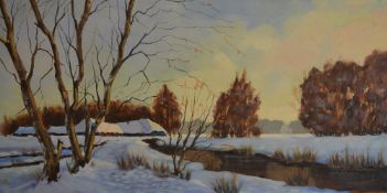 Large oil on canvas of a winter scene,