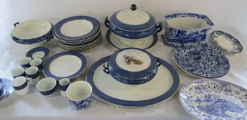 2 boxes of assorted blue and white ceramics inc Spode