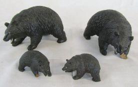 4 Black Forest style bear figures (2 af)