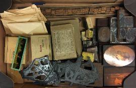Various old printing blocks & old glass negatives