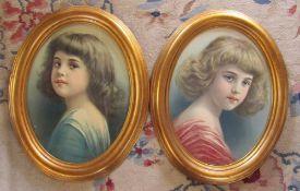 2 gilt framed portrait prints