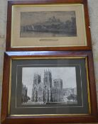 2 old prints including Lincoln Cathedral