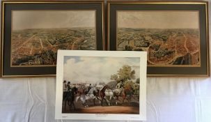 2 framed copies of Brown's Panorama of Louth & unframed copy of Horncastle Horse Fair
