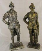 2 plaster Conquistador figures (af) H 66 cm