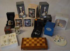 Ex shop stock - Pewter giftware including tankards, chess set, miniature tea set,