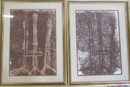 Pair of sculptural abstract mono prints by D R Adamson dated 1964 (Winchester School of Art) 49.