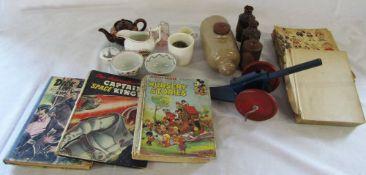 Various ceramics, Fairylite cannon, Disney books (af),
