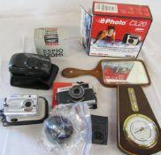 Olympus Trip 35 camera, Pentax cameras inc Optio E10 and 738, AGFA digital camera,