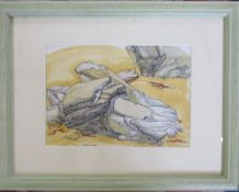 Pen and ink drawing of rocks on a beach by Sheila Read 44 cm x 34 cm (size including frame)