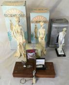 Ex shop stock - Selection of gift items including silver money clip, Broadway Belles figures,
