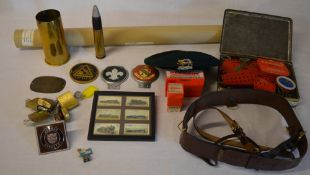 Trench art, Kennedy stamps, various heavy duty brass locks,