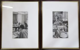 Pair of charcoal drawings of a classroom scene by Kathleen M Sisterson M.