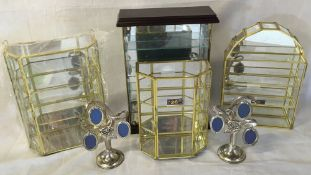 Ex shop stock - 4 small display cabinets & a pair of miniature portrait hangers