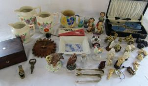 Selection of ceramics, dressing table set, resin ivory style figures,