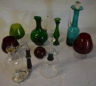 Various glassware including coloured glass and a coffee perculator