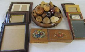 Various treenware inc fruit bowl and fruit and photo frames
