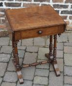 Victorian work table with side leaves on turned legs with replacement knob & repair to drawer