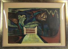 Limited edition lithograph 'The White Gate' by Allin Braund (1915-2004) signed and numbered in