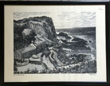 Linocut print of Port Braddan in Northern Ireland signed in pencil by the artist R G Sellar.